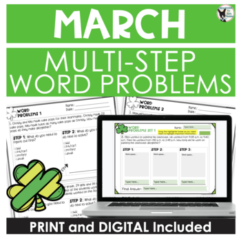 Multi-Step Word Problem Practice March Theme