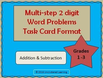 Multi-Step Word Problem Task Cards 1-3 Grades