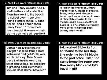 Multi-Step Word Problem Task Cards (28) (TEK 2.4C)