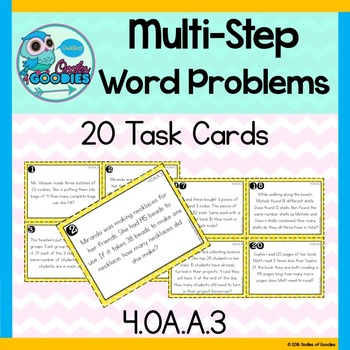 Multi-Step Word Problem Task Cards - (4.OA.A.3)