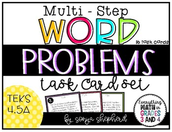 Multi Step Word Problem Task Cards - 4th Grade