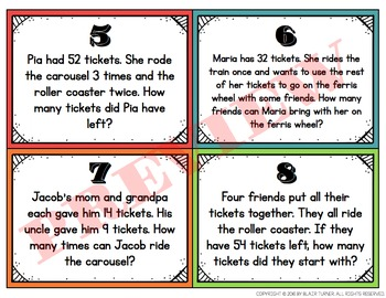 Multi-Step Word Problem Task Cards: 4th Grade Math Centers 4.OA.3