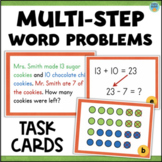 Two-Step Word Problems 2nd Grade - Addition and Subtraction Task Cards