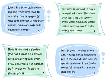 Multi-Step Word Problem Task Cards - CCS 3.OA.8