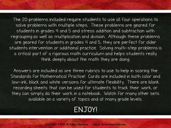 Multi Step Word Problem Task Cards: Grade 4-5