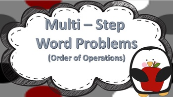 Multi-Step Word Problem Task Cards ((Order of Operation))