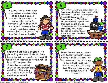 Multi-Step Word Problem Task Cards: Pirate Theme