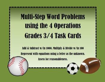 Multi-Step Word Problem Task Cards Sports Theme
