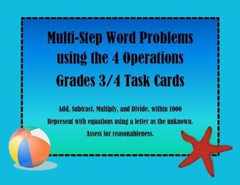 Multi-Step Word Problem Task Cards Spring/Summer Theme