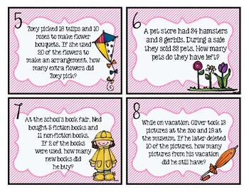 Multi-Step Word Problem Task Cards *Spring Themed*!