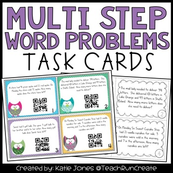 Multi Step Word Problem Task Cards with QR codes Common Core 3.OA.8