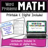 Multi-Step Math Word Problems Print and Digital   Google Slides