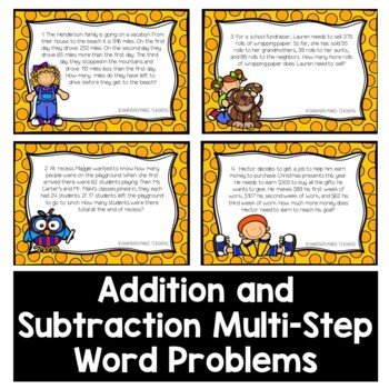 Multi-Step Word Problems - Addition and Subtraction Task Cards