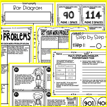 Addition and Subtraction MultiStep Word Problems - Task Cards, Worksheets, Games