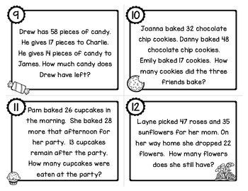 Two Step Addition and Subtraction Word Problems with 2 digit Numbers