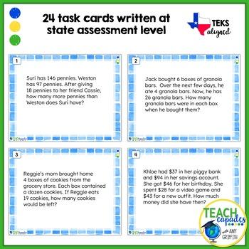 Multi-Step Word Problems Task Cards ~ TEKS 3.4A & 3.4K