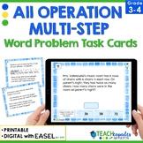 Multi-Step Word Problems Task Cards - TEKS 3.4A & 3.4K