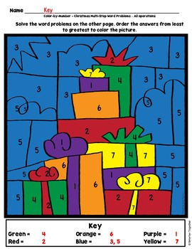 Multi-Step Word Problems 4th Grade Christmas Math