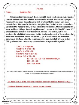 Word Problems - 5th Grade - Multi-Step - Common Core Aligned