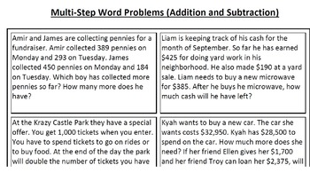 Multi-Step Word Problems--Addition and Subtraction, Mixed Operations