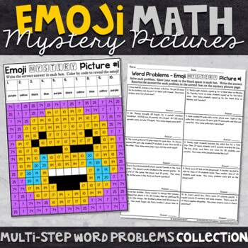 Multi-Step Word Problems - Emoji Math Mystery Pictures