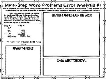 Multi-Step Word Problems Error Analysis
