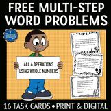 Multistep Word Problem Task Cards FREE