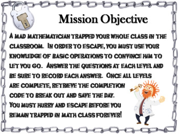 Multi-Step Word Problems Game: Escape Room Math