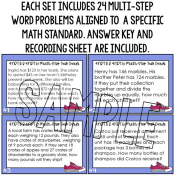 Multi-Step Word Problems Multiplication & Division Task Cards 4th & 5th Grade