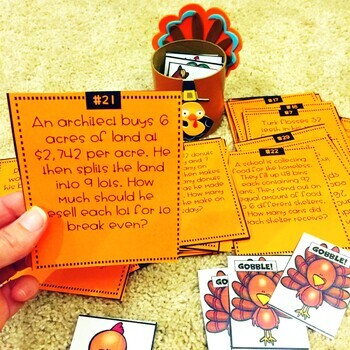 Multi-Step Word Problems Thanksgiving Game