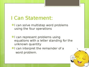 Multi-Step Word Problems PPT 4.OA.3.