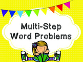Multi-Step Word Problems QR Code Task Cards and Printables