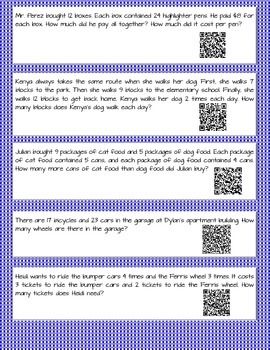Multi Step Word Problems QR Codes