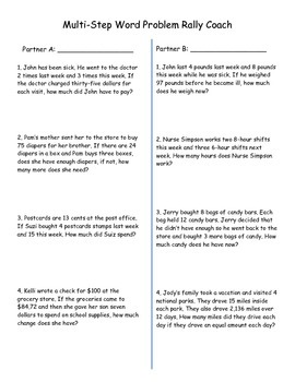 Multi-Step Word Problems - Rally Coach - Cooperative Learning