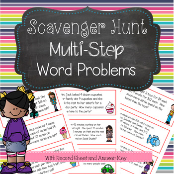 Multi-Step Word Problems Scavenger Hunt