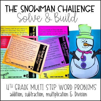 Multi Step Word Problems - Solve and Build a Snowman