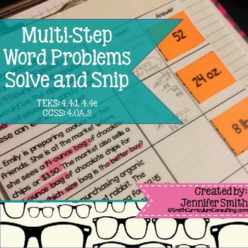 Multi-Step Word Problems Solve and Snip- Common Core & TEKS