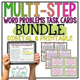 Multi-Step Word Problems Task Card BUNDLE   Distance Learning   Google Classroom