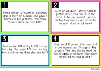 Multi-Step Word Problems | Task Cards:
