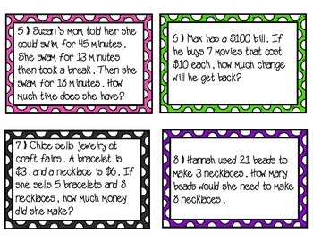 Multi Step Word Problems Task Cards