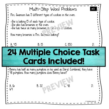 4th Grade Multi-Step Word Problems Task Cards