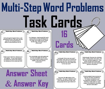 Multi Step Word Problems Task Cards/ Multi-Step Word Problems Practice Activity