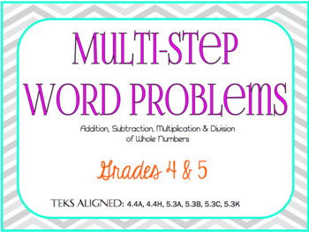 Multi-Step Word Problems: Task Cards- GRADES 4 & 5