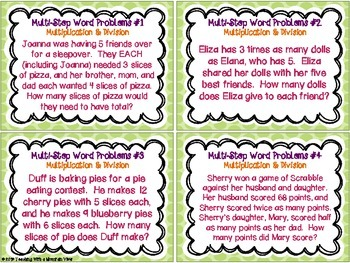 Multi-Step Word Problems Task Cards { Multiplication & Division Story Problems }