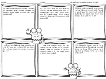 Multi-Step Word Problems Task Cards & WS 3.OA.8
