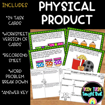 Multi-Step Word Problems Task Cards & WS 4.OA.3