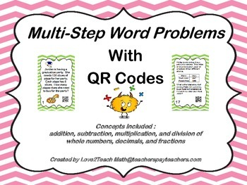 Multi-Step Word Problems Task Cards with QR Codes