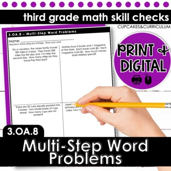 Multi-Step Word Problems - Third Grade Print and Go