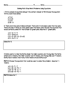 3.OA.D.8 Multi Step Word Problems Using Equations