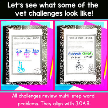 Multi-Step Word Problems  - Veterinarian Real World Math Activity